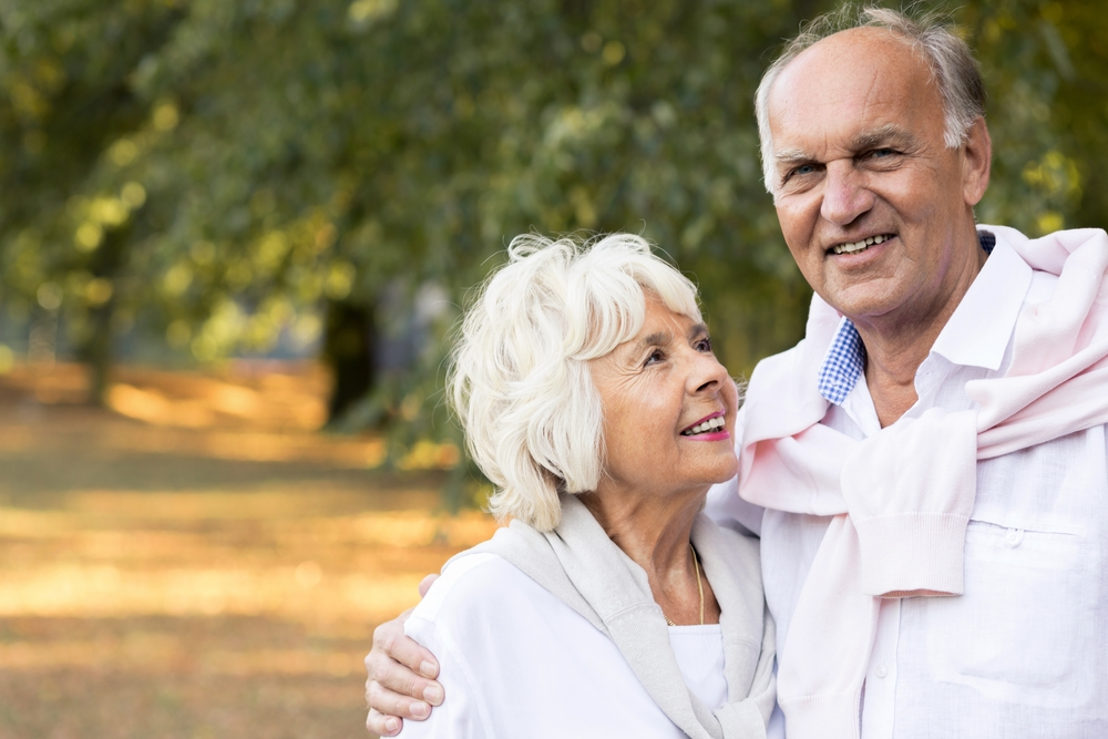 Picture of happy elder marriage in park